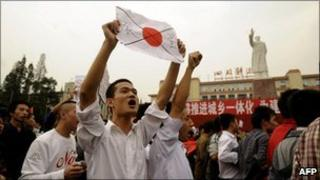 Chinese protestors at a demonstration against Japan in Chengdu, Sichuan province, China, 16 October 2010