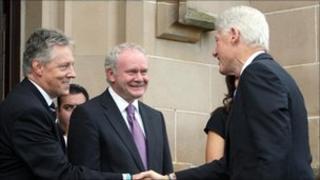 Peter Robinson, Martin McGuinness, Bill Clinton