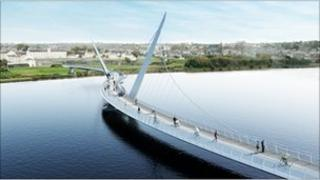 An artist's impression of how the new peace bridge will look