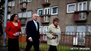 Iain Duncan Smith on campaign trail in Easterhouse, Glasgow, Scotland