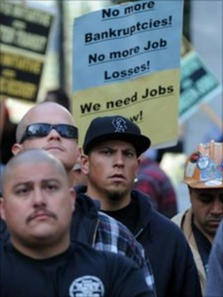 Union building trade workers holding a rally on the steps of City Hall in Los Angeles