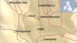 Map showing A472 at Ystrad Mynach