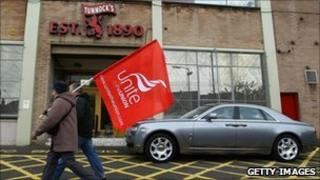 Striking workers at Tunnocks bakery in South Lanarkshire in September