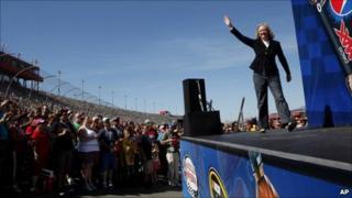 Meg Whitman at the NASCAR rally