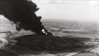 The fire at the oil depot in Pembroke Dock - Photo courtesy of the Pembroke Dock Sunderland Trust