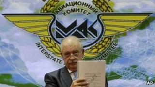 Mak official Oleg Yermolov presents the report in Moscow, 20 October