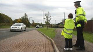 Pupil helping catch the speeders
