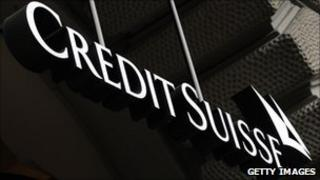 Credit Suisse logo outside a Zurich branch