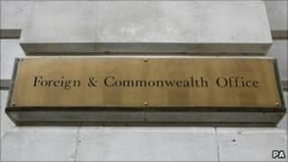 A sign for the Foreign and Commonwealth Office