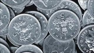 Five pence coins