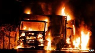 Two waste disposal trucks on fire outside the Terzigno dump