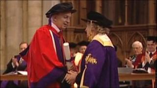 David Gower collecting honorary degree
