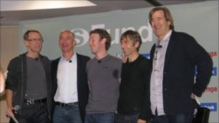 Facebook co-founder Mark Zuckerberg (centre) with other members of the sFund