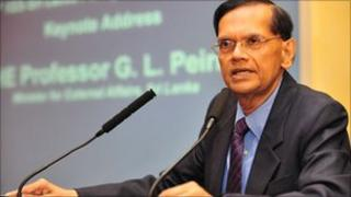 Sri Lanka Foreign Minister GL Peiris delivering a lecture at the IISS (photo: IISS)