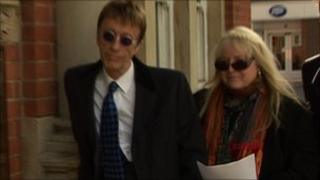 Robin Gibb and wife Dwina outside town hall