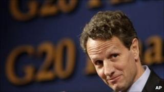 Timothy Geithner in Gyeongju, South Korea (23 October 2010)