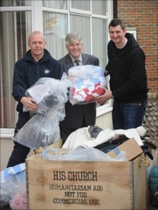 Roger Cohen from Trading Standards, East Sussex County Councillor Bob Tidy & Richard Humphrey from His Church Charity