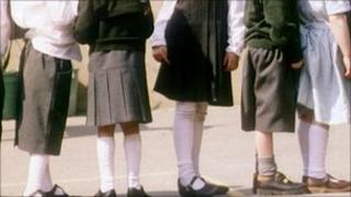 Children lining up in playground