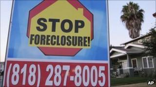Foreclosure sign outside a house in California