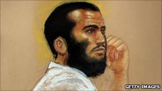 A court drawing of Omar Khadr