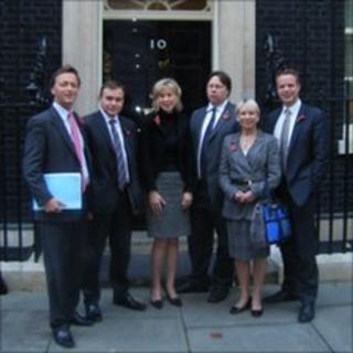 Cornish MPs Andrew George, George Eustace, Sarah Newton, Dan Rogerson, Sheryll Murray and Stephen Gilbert outside 10 Downing Street