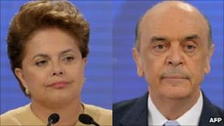 The two candidates for the presidency - Dilma Rousseff (L) and Jose Serra (R)