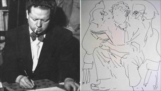 Dylan Thomas and one of Dodie Masterman's sketches