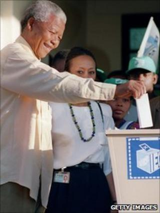 Nelson Mandela voting in Oshlange, black township near Durban, 27 April 1994
