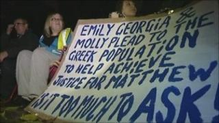 Family protest outside Greek Embassy