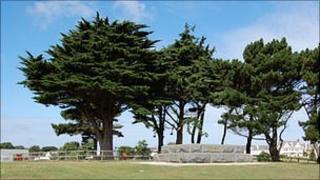 Delancey Park including the base of the 1877 Admiral Lord de Saumarez memorial