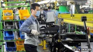 Factory worker at the Ssanyong car plant in Pyeongtaek, Korea