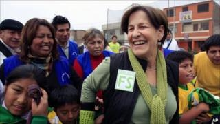 Susana Villaran campaigning in a Lima shanty town ahead of the 3 October vote