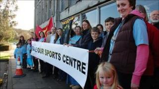 Camelford Leisure Centre supporters protest at County Hall