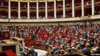 The French National Assembly in session, 27 October
