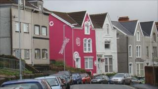 The pink house on Bryn Road in Swansea