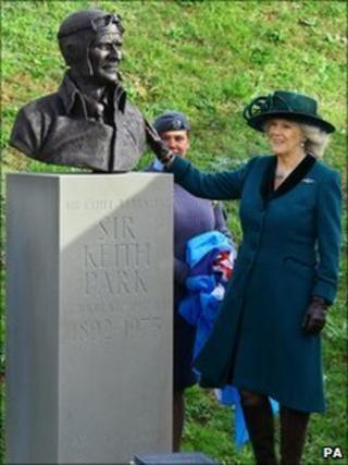 The Duchess of Cornwall with the bronze bust of Sir Keith Park