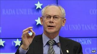 Herman Van Rompuy, president of the European Council, speaks to reporters in Brussels, 28 Oct 10