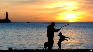 man walking dog at sunrise