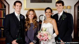 Andy Murray, Kim Sears, Alejandra Gutierrez and Jamie Murray. Pic: Alan Hutchison Photography