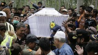 The funeral of Maridjan, at a graveyard near Mount Merapi - 28 October 2010