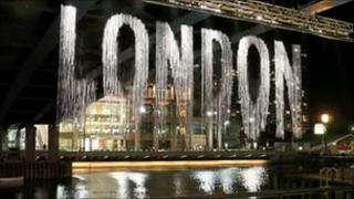Art Installations by artist Julius Popp which installed on Canary Wharf