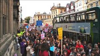 Oxford students demonstrating
