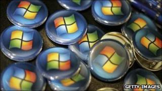 Buttons with Microsoft logo