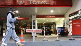 Total petrol station in Paris that ran out of fuel last week due to a strike by workers