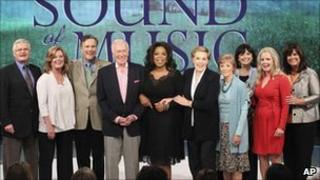 The cast of The Sound of Music with Oprah Winfrey (centre)