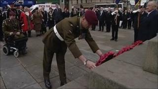 The wreath laying service in Huddersfield