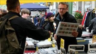 Shopper at a market in Wuppertal, western Germany
