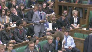 Members of the Youth Parliament in the Commons chamber