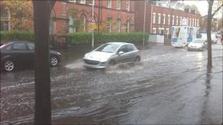 The heavy rain is causing traffic disruption