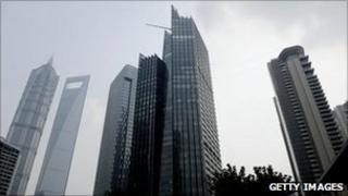 Financial district in Shanghai